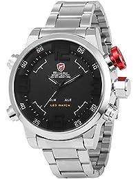 Shark SH103 - Reloj para hombre, LED, resistente al agua, color plateado