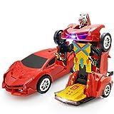 Kinder Elektrische-Getriebe Auto Licht Musik Universal Variation Roboter Transformer Modell Fahrzeuge Spielzeug für Kinder rot