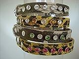 Swarovski Kristall Elements Leder Hundehalsband Design your own 9Choices der Crystal 4Größen von Halsband 2Farben Camouflage oder Leopard 90Kombinationen