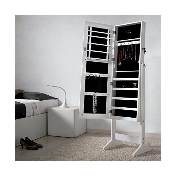 Armoire à bijoux Rangement avec Miroir XXL 160cm , laqué blanc et velours  noir