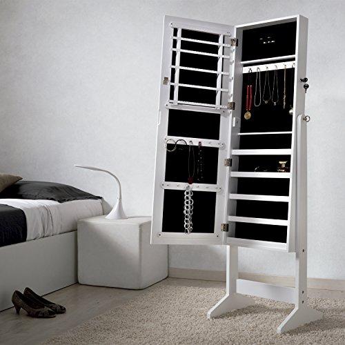 espejo joyero xxl 160 cm lacado blanco y terciopelo negro