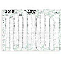 Colori 2016–17anno accademico Organiser Calendario planner da parete (formato orizzontale) A1 (84.1 x 59.4 cm) UK & Ireland Planner Green Patterned Background with Black Print