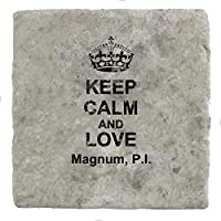 Keep Calm and love Magnum, P.I. - Marble Tile Drink Coaster