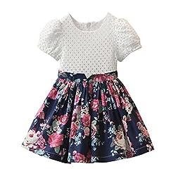 For 2-7 Years old Girls,Clode® Cute Summer Toddler Baby Kids Girl Flower Pattern Tutu Party Mini Short Sleeve Girl Sundresses