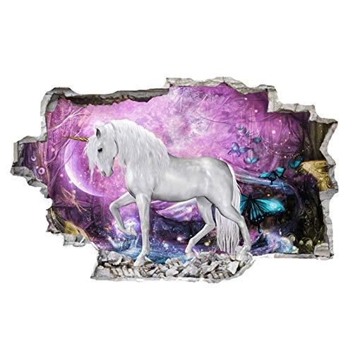 Einhorn pferd wandaufkleber kreative 3d brechen die wand dekorative trim wirkung bild Nursery Decor (74 x 46 cm) (Wand-trim Dekorative)
