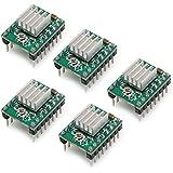 Popprint 5pcs Ramps1.4A4988pilote de moteur pas à pas avec dissipateur thermique pour imprimante 3d