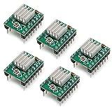 PoPprintA4988 Schrittmotor-Treiber, Ramps 1.4, mit Kühlkörper, für 3-D-Drucker, 5 Stück, grün, 5