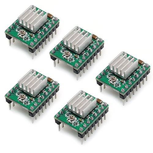 BIQU Equipment A4988 Stepper StepStick Compatible Motor Diver Module with Heat Sink for 3D Printer Controller Ramps 1.4(Pack of 5pcs) (A4988-Green) Test
