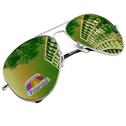 Pilot-Stil Sonnenbrille  Damen Herren polarisierten polarized Grün Brille SUNGLASSES UV400 MFAZ Morefaz Ltd