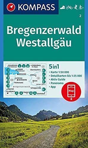 Bregenzerwald, Westallgäu: 5in1 Wanderkarte 1:50000 mit Aktiv Guide, Detailkarten und Panorama inklusive Karte zur offline Verwendung in der ... Langlaufen. (KOMPASS-Wanderkarten, Band 2)