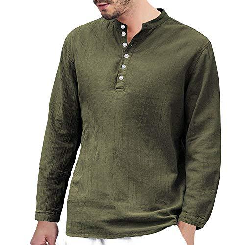 MEIbax Herren Baggy Baumwolle Leinen Hemden Langarm Knopf Retro V Neck T Shirts Tops Oberteile