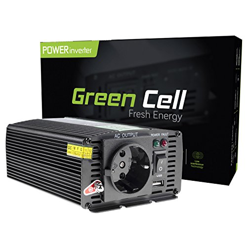 Green Cell® 300W Spannungswandler Wechselrichter DC 12V auf AC 230V Inverter für Auto inkl. Stecker für Kfz-Zigarettenanzünder mit USB-Ladeanschluss und Direktanschluss an Autobatterie