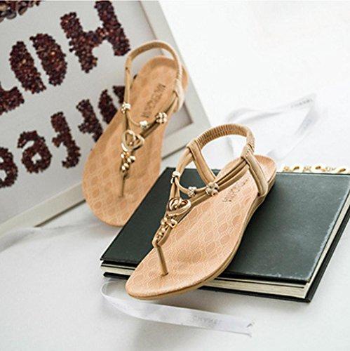 DM&Y 2017 sandali a spina di pesce femmina pizzico anello di metallo piatto Clover pantofole bohemien freddi beige