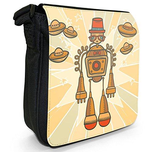 Robot motivo retrò Hipster-Borsa a tracolla in tela, piccola, colore: nero, taglia: S Orange Hipster Moustache Robot