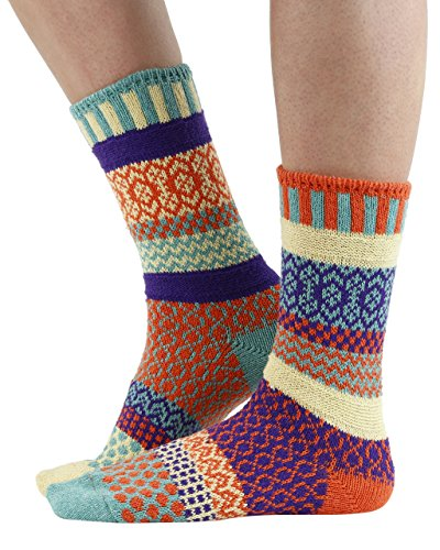 Solmate Socks - Odd or Mismatched Crew Socks for Women or for Men, Made with Recycled Cotton Yarns in USA, Dawn Medium