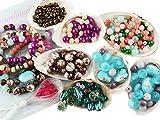 Vintageparts DIY Perlenarmband Set Boho Style für Anfänger mit über 350 Teilen Glasperlen, Lampworkperlen, Anleitung, Metallperlen und Gummiband zum Schmuck selber basteln
