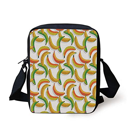 CBBBB Fruits,Retro Pop Art Trippy Banana Fractal Minimalist 80s Geometric Abstract Decorative,Earth Yellow Pearl Green Print Kids Crossbody Messenger Bag Purse -