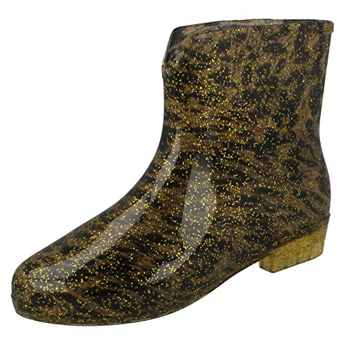 Spot On Ladies Leopard Print Ankle Wellington Boots