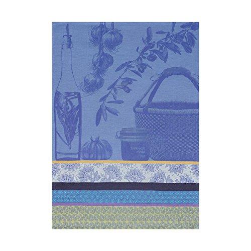 Le Jacquard Francais Torchon Saveurs de Provence Coton Bleu lavande Rectangulaire 60 x 80 cm