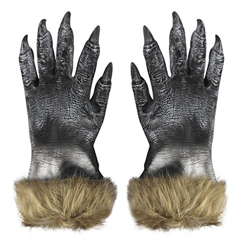Kostüm Wolf Pfoten (Unisex Halloween Kostüm Cosplay Wolf Handschuhe Fancy Dress Kostüm Zubehör Horror Scary Cosplay Requisiten Masquerade Party Supplies Hands Claws Latex)