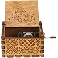 EITHEO Wooden Hand Cranked Collectable Engraved Music Box (Happy Birthday)