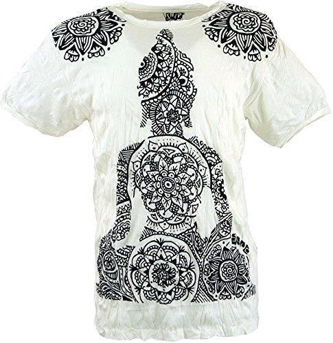 GURU-SHOP, Camiseta Sure T-Shirt Mandala Buddha, Blanco, Algodón, Tamaño:M, Camisetas Seguras