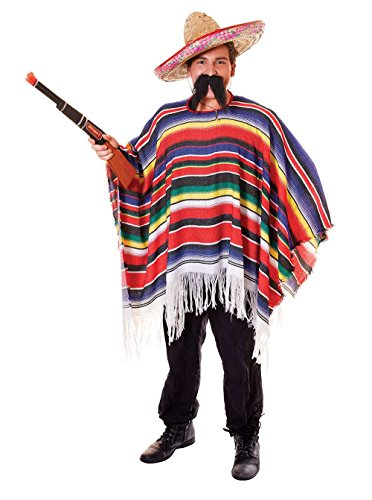 Unbekannt Mexikanischen Fancy Kleid Sombrero Poncho Gringo Bandit Hirsch Party Do Komplettes Outfit Gr. Einheitsgröße, Complete Outfit