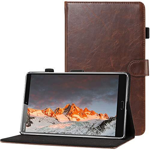 CLM-Tech kompatibel mit Huawei MediaPad M5 8.4 Zoll Tablet-PC Tasche im eleganten Kunstleder, Hülle Etui mit Stand und Kartenfächern, Dunkelbraun