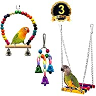 XMSSIT Parrot Cage Toy, Bird Swing Toys Bell Colorful Wood Beads, Bird Perch Wooden Hammock Hanging Budgie Lovebirds Conures Small Parakeet Cages Decorative Accessories 3 Pack