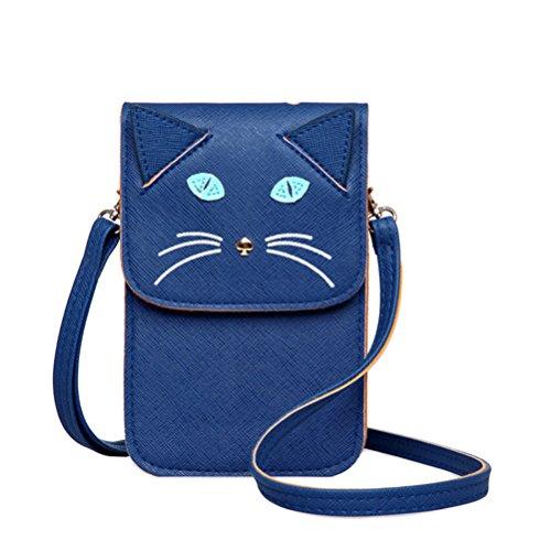 Honeymall donne a borsa tracolla spalla Borse Tote Bag da Donna in PU Gatto Carino Nero Blu
