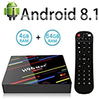TV Box Android 8.1-ESTGOUK H96 MAX+ Smart TV Box 4GB RAM & 64GB ROM, RK3328 Quad-Core,4K*2K UHD H.265, HDMI,WiFi 2.4/5.0GHz,Android Set-Top Box