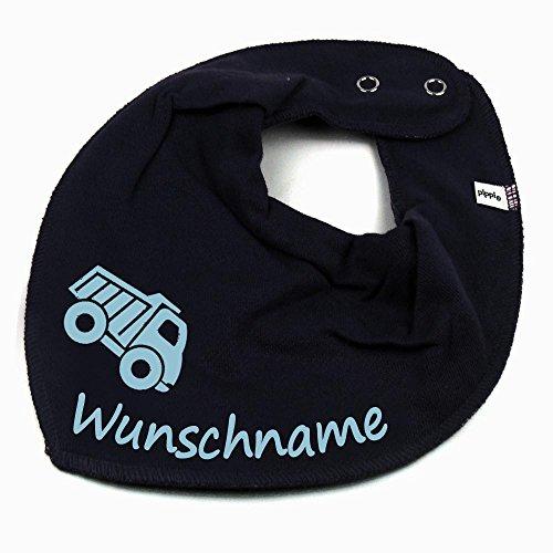 Elefantasie HALSTUCH Lastwagen mit Namen oder Text personalisiert dunkelblau für Baby oder Kind