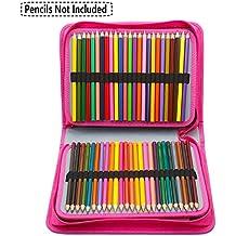 Niutop 150 Canvas de cuero de la PU de múltiples capas ranuras portátil de bolsillo estacionario lavable con la caja de lápices de colores lápiz cremalleras para los lápices, lápices de acuarela, lápices de madera, lápices de colores, lápiz, bolígrafo de gel artista y cepillo cosmético