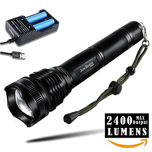 2400 Lumen CREE LED XHP50 Taktische Taschenlampe Extrem Hell JFM16 ProTac LED Torch Focus Adjustable Wasserdicht with 18650 Akku and USB Ladegerät Charger Set