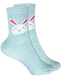 Baumwolle atmungsaktiv weich cosey dicke Socken – Hase hellblau 33-40 1 Paar