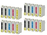 20 Druckerpatronen kompatibel zu Epson T0715 (8x Schwarz, 4x Cyan, 4x Magenta, 4x Gelb) passend für Epson Stylus D-120 D-78 D-92 DX-4000 DX-4050 DX-4400 DX-4450 DX-5000 DX-5050 DX-5500 DX-6000 DX-6050 DX-7000F DX-7400 DX-7450 DX-8400 DX-8450 DX-9200 DX-9400F B40W BX300F BX310FN BX510W BX600FW BX610FW S-20 S-21