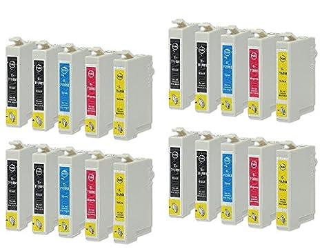 20 Druckerpatronen kompatibel zu Epson T0715 (8x Schwarz, 4x Cyan, 4x Magenta, 4x Gelb)