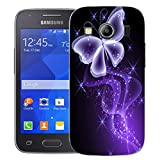 Mobile Case Mate Samsung Galaxy Ace 4 G357 clip on Silicone case cover bumper and Stylus pen - Purple Butterfly Sparkle pattern (SILICON)