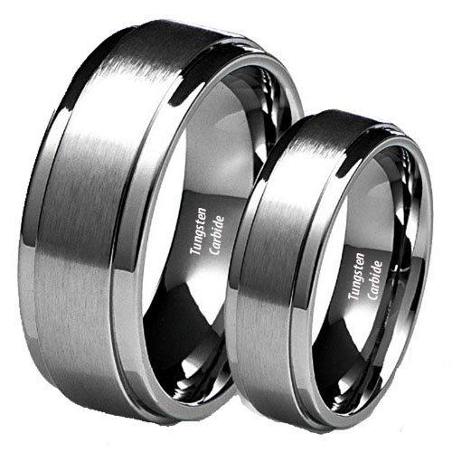 Tungsten Ring Set  -  Wolframcarbid Wolframcarbid Keine Angabe (Sein Hers Diamant-ring)