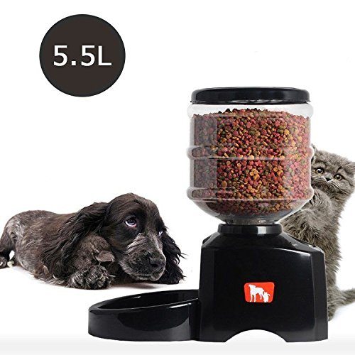 Haustier Futterspender Futterautomat Automatisch Futternapf für Hunde und Katzen mit Ton-Aufnahmefunktion ca.3kg Batterie-Betrieb Schwarz (Schwarz) - 4