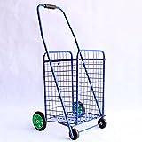SSDM Deluxe Rolling Shopping Cart Mit Korb - Verstaubare Duty Cart Mit Gummirädern Für Haul, Lebensmittel, Spielzeug, Sportgeräte Trolley (Groß),Blue