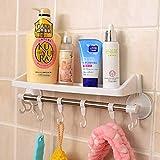 Mark8shop Bathroom Plastic Storage Rack Sundries Stand Corner Shelf With Hooks And Suckers