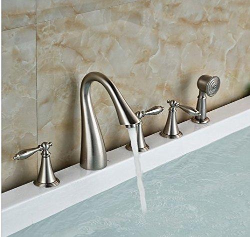 Gowe Mélangeur Nickel brossé Baignoire Bec Mélangeur lavabo robinet mitigeur Pulvérisateur à main