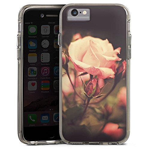 Apple iPhone 6 Bumper Hülle Bumper Case Glitzer Hülle Rosenblüten Flowers Blumen Bumper Case transparent grau