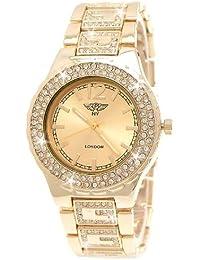 """Designer Damenuhr,Exclusive Damen Strass Uhr,Luxus """"G"""" Muster Optik,Gold,inkl.Uhrenbox"""