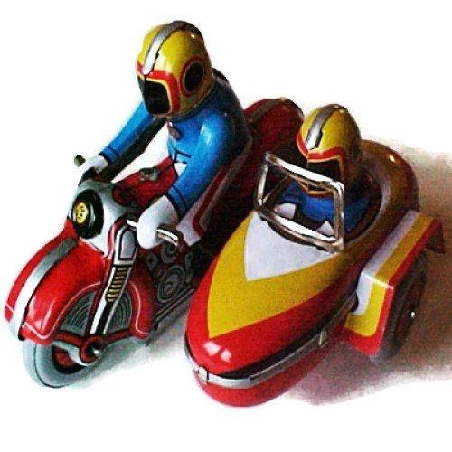 Juguete Vintage de Hojalata Moto con Sidecar - Coleccionista