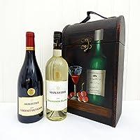 Presentato in una lussuosa 2 bottiglia di vino vettore di legno Tipple: Monastier vino rosso e vino bianco Monastier