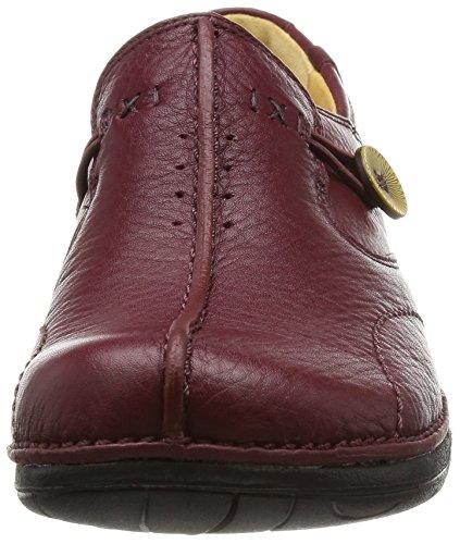 Clarks Un Loop, Mocassins femme Burgundy Leather