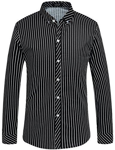 Herren Button-up-shirt Arbeiten (SSLR Herren Streifen Normal Fit Freizeit Langarm Button Up Hemd (Small, Schwarz))