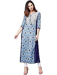 [Sponsored]Jaipur Kurti Women Blue Embroidered A-Line Cotton Kurta